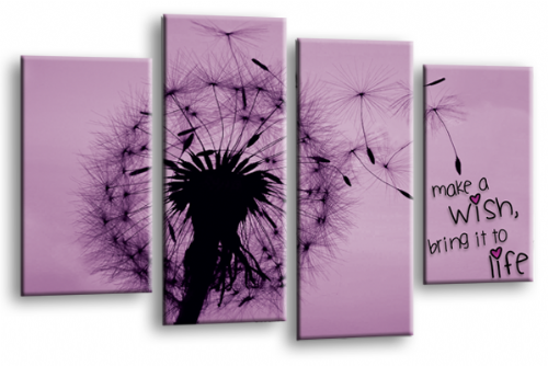 Make a Wish Canvas Wall Art Picture Print Quote Purple Grey